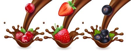 Czekolada i jagody. Malina, truskawka i czarna porzeczka w zestawie realistycznej ilustracji czekolady splash.
