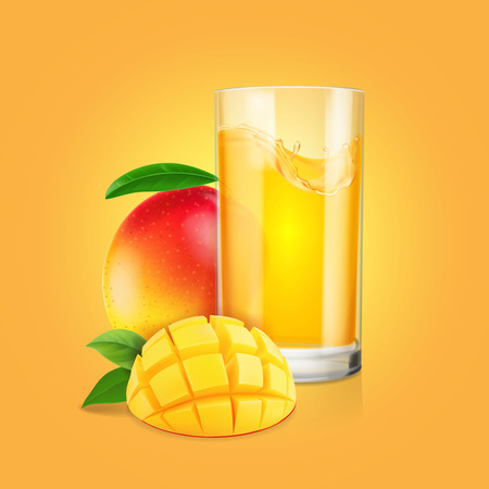 Mango fruit , a glass of juice with slices realistic illustration 矢量图像