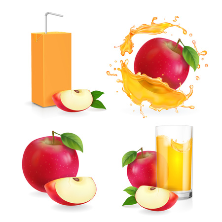 Realistic apple juice splash, drinking glass with flresh, apple fruit slice and juice package vector illustration vector icon