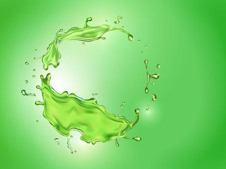 Salpicaduras de jugo de limón fondo verde. Ilustración de cóctel de cítricos de bebida mojito.