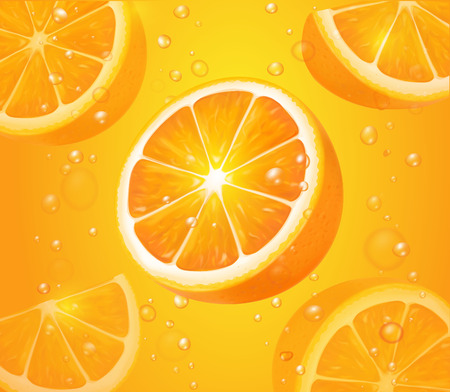 Refreshing orange background, realistic orange fruits with drops and bubbles illustration Stock Illustratie