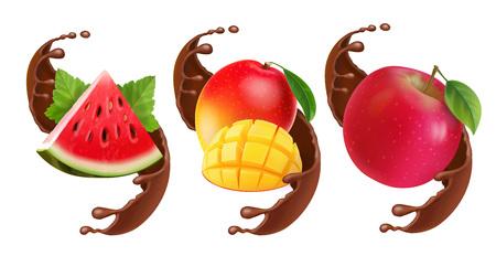Fruits in chocolate splash. Stockfoto - 109323745