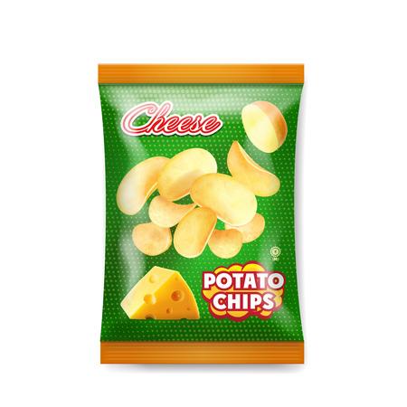 Ilustración de vector realista de diseño de bolsa de chips de queso