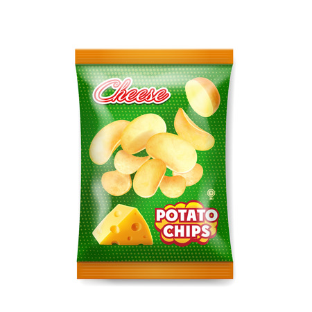 Cheese chips bag design realistic vector illustration