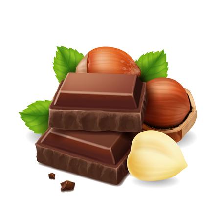 Hazelnuts and chocolate pieces illustration