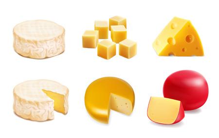 Types de fromages. Icônes réalistes de divers types de fromages