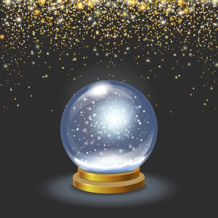 Christmas snow globe on black background falling gold glittering confetti Vector 3d illustration Vetores