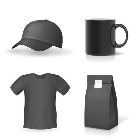 Classic black promotional souvenirs design set Mug, t-shirt, cap.