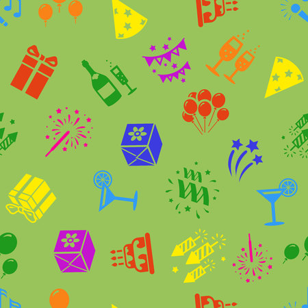 Birthday party seamless pattern, balloons, gifts, confetti, firework, cake, cocktail.