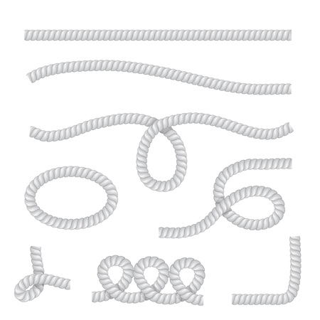 Vector realistic rope isolated on transparent background.