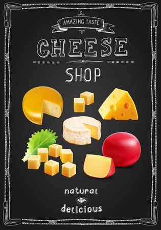Cheese various types collection. Cheese shop banner on chalk board vertical illustration .