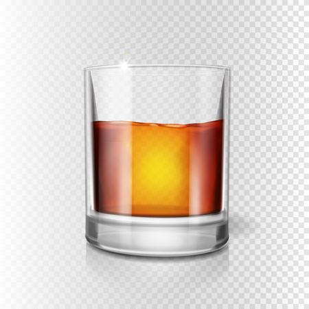 Scotch whiskey or rum, brandy shot glass, Realistic illustration