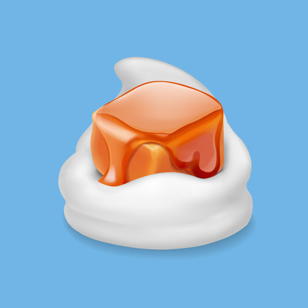 Caramel candy in milk yogurt or ice cream realistic.