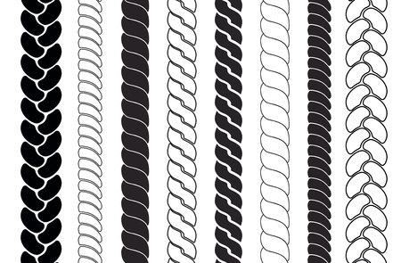 Bürsten mit Seilmuster. Zöpfe und Zöpfe Silhouettenkollektion. Vektorgrafik