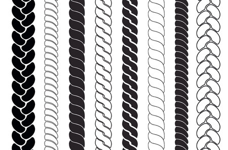 Ropes pattern brushes. Braids and Plaits silhouette collection. Векторная Иллюстрация