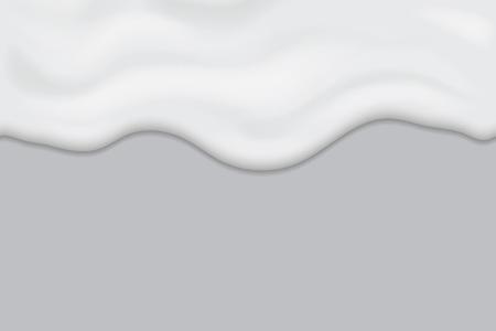 Creamy liquid texture, dripping yogurt cream horizontal seamless design, milk melting banner.