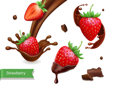Strawberry in chocolate realistic collection illustration.