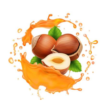 Caramel or honey splash and hazelnut realistic illustration.