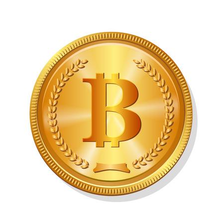 Złota moneta bitcoin. Realistyczne krypto 3d symbol wektor ilustracja. Ilustracje wektorowe