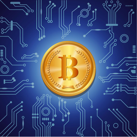 Golden bitcoin crypto currency on blue digital