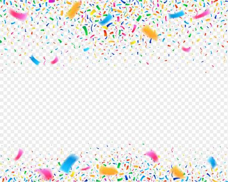 Color confetti carnival party background. Falling confetti ribbons. Fiesta celebration, birthday or festival vector illustration. Çizim