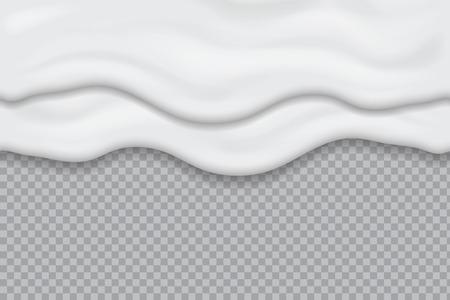 Dripping yogurt cream seamless, liquid milk texture. Melting ice cream. Flowing mayonnaise sauce white creamy drips. Realistic vector illustration. Illustration