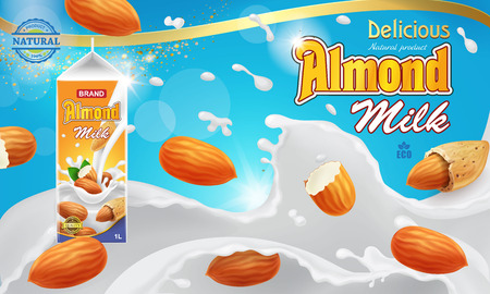 Almond milk advertising design with splashing liquid and nuts isolated on blue