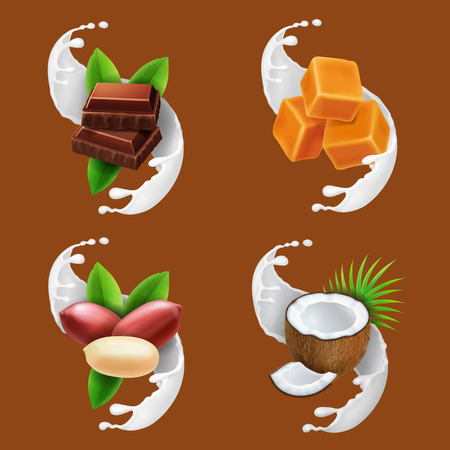 Chocolate, caramel, coconut, peanut in milk splash or yogurt realistic set vector. Illustration