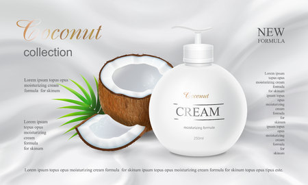 Coconut body lotion advertising design cosmetics product in round bottle with spray head Vector illustration