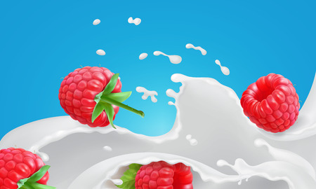 Red raspberry in creamy yogurt. Milk splash with floating berries isolated on blue background advertising of dairy products