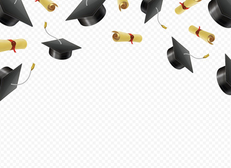 Graduate caps and diplomas flying on a transparent background. Academic hats thrown up in air vector illustration.