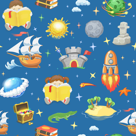 Reading book, imagination  with stars, sailing ship, desert island, planets flying rocket, castle, treasure chest seamless