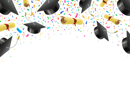 Graduate caps and diplomas flying with multi colored confetti. Academic hats in air with ribbons. Stock Illustratie