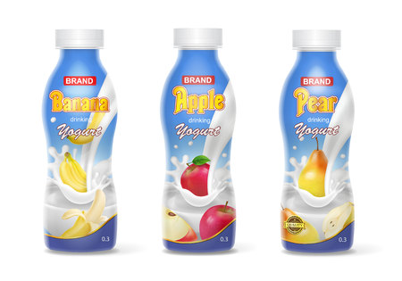 Yogurt bottles set with fruits banana, apple, pear.