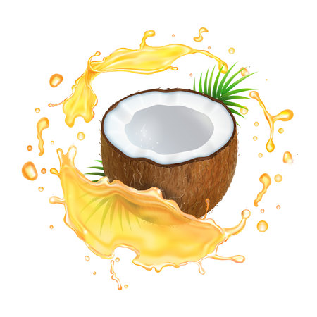 Coconut in oil splash.