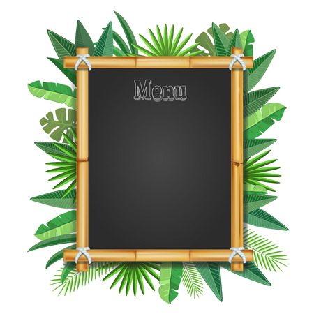 Bamboo frame with tropical leaves realistic. Vector. Illusztráció