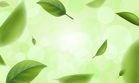 Green blurred leaves with bokeh defocused lights, vector.