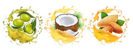Aceites fijados. Colección realista de salpicaduras de aceite de coco, oliva, almendras. Ilustración de vector