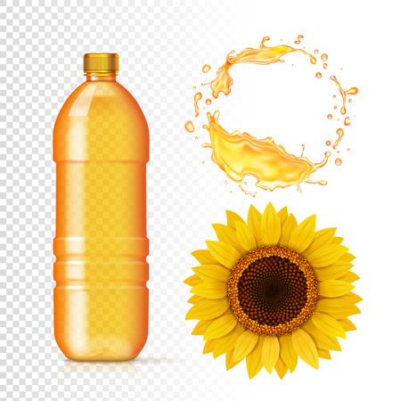 Huile de tournesol en bouteille, éclaboussures réalistes d'huile. Ensemble pour la publicité Vecteurs