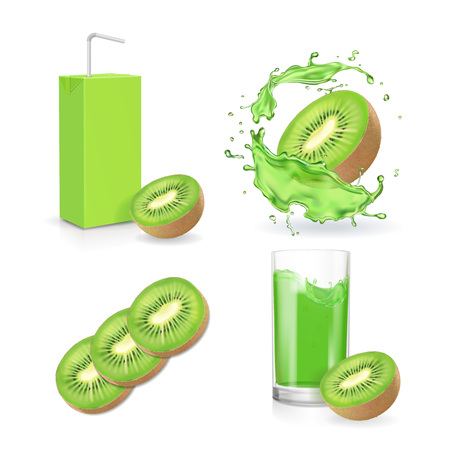 Kiwi juice collection. Juice splash, fruit package