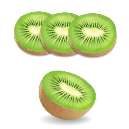 Kiwi fruit realistic on white