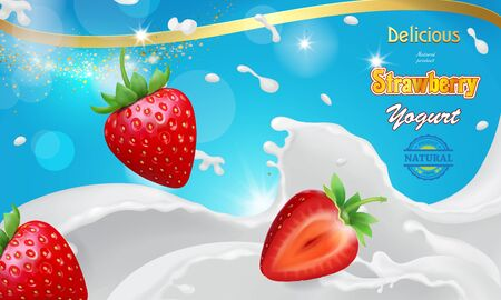 Vector realistic strawberry yogurt ads. Red strawberries in white milk pouring splashes advertising