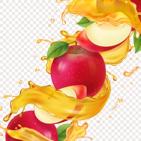 Apple fresh juice realistic Vitamin sweet liquid flowing in motion and red apple slices