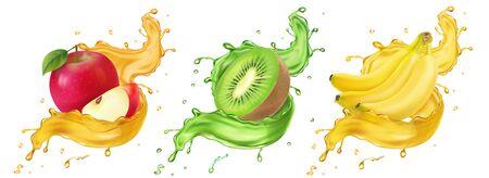 Banana, kiwi and apple fruit juice splashes Vector Illustration