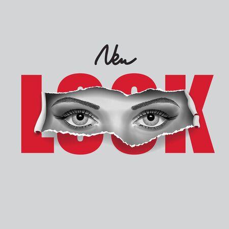 Typography slogan with girl eyes