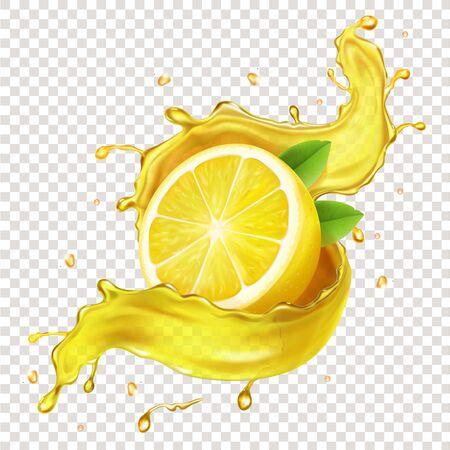 Half of a lemon slice in realistic juice splash Иллюстрация