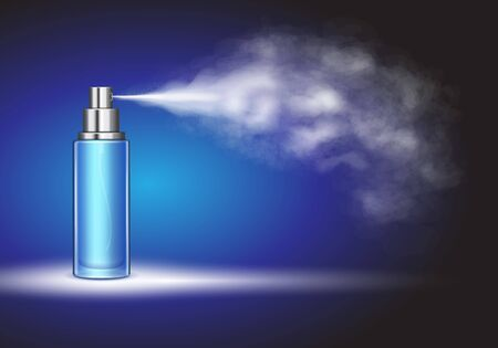 Spray bottle, ice moisturizing toner bottle on blue
