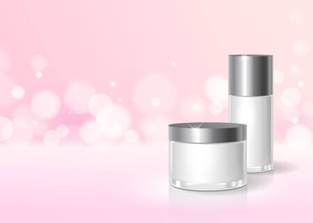 Cosmetic cream bottle package design.
