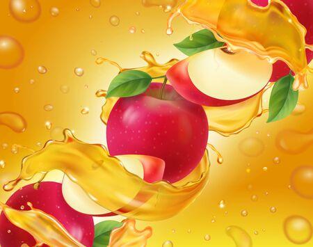 Apple fruit in fresh splashing juice realistic Banco de Imagens - 131718116