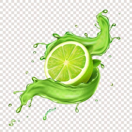 Lime in green juicy splash. S Stock fotó - 131718118